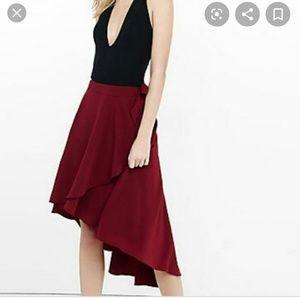 Express hi low burgundy faux wrap skirt